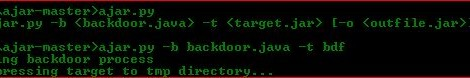Ajar - Auto backdoors .jar files with a specified .java file.
