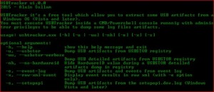 Sample Screen Capture : USBTracker v-1.0.0 | USBTracker is a quick & dirty coded incident response and forensics Python script to dump USB related information and artifacts from a Windows OS (vista and later).