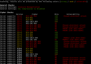 Example Screen Capture : ruby-SSLscanner A simple and easy to use SSL Cipher scanner