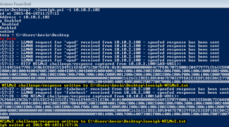 Inveigh is a Windows PowerShell LLMNR/NBNS spoofer with challenge/response capture over HTTP/SMB.