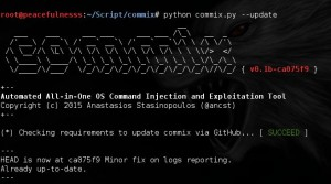 Example screenCapture Updates commix-v-0.1b : Automated All-in-One OS Command Injection and Exploitation Tool.