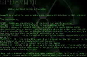 SprayWMI is a method for mass spraying unicorn powershell injection to CIDR notations.