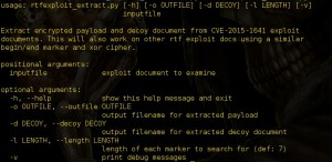 rtf_exploit_extractor Script to extract malicious payload and decoy document from CVE-2015-1641 exploit documents.