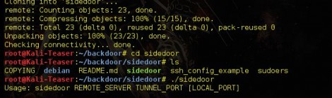sidedoor is a Backdoor using a reverse SSH tunnel.
