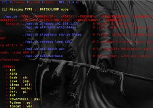 "MPC-v1-4-1\ quick way to generate various ""basic"" Meterpreter payloads via msfvenom (part of the Metasploit framework)."