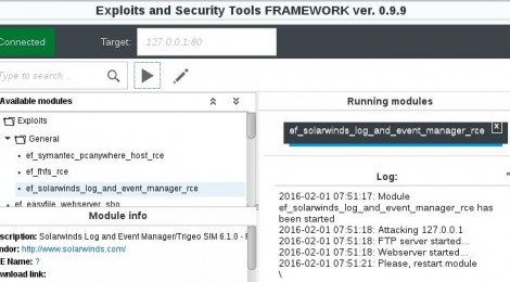 EaST v0.9.9 - Exploits and Security Tools Framework.