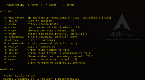 against.py - mass scanning and brute-forcing script for ssh.