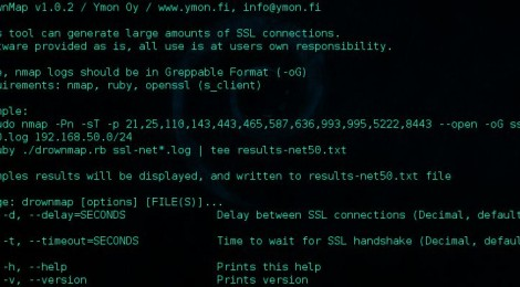 drownmap - Security tool, scan your environments for the SSLv2 DROWN vulnerability.