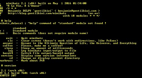 mimikatz v2.1 alpha 20160501 (oe.eo) edition; A little tool to play with Windows security.