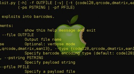 scansploit - Tool to embed exploits into barcodes.