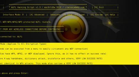 wifi hacking script v1.3 supported securities: WEP, WPS, WPA, WPA2.