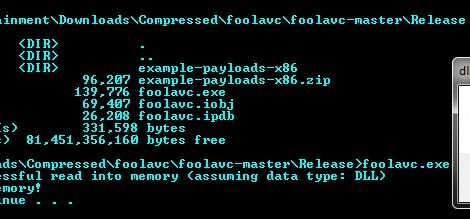 foolavc - bypass AV to execute DLL, executable or shellcode.