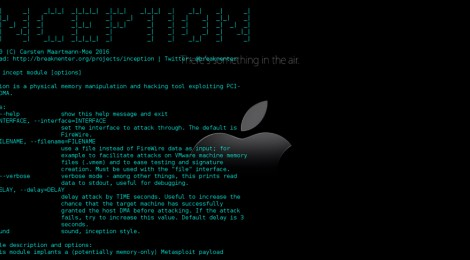Inception v0.4.1 is a physical memory manipulation and hacking tool exploiting PCI-based DMA.
