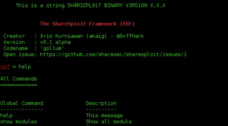 The ShareSploit Framework (SSF) v0.1 alpha.