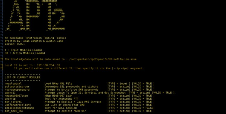 APT2 - An Automated Penetration Testing Toolkit.