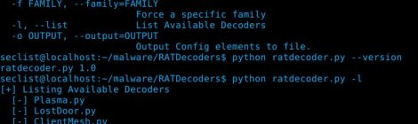 RATDecoders v1.0 - Python Decoders for Common Remote Access Trojans.
