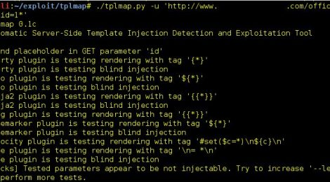 tplmap v0.1c - Automatic Server-Side Template Injection Detection and Exploitation Tool.