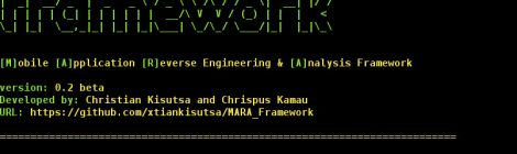 Mara framework v0.2(beta) - Mobile Application Reverse Engineering & Analysis Framework.