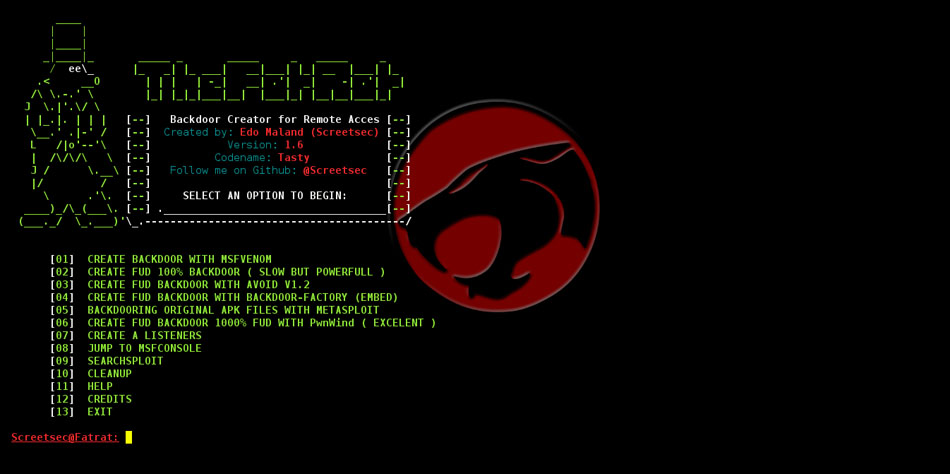 TheFatRat v1 8 – Backdoor Creator For Remote Access  – Security List