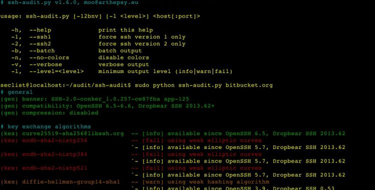 ssh-audit v1.6 is a tool for ssh server auditing.