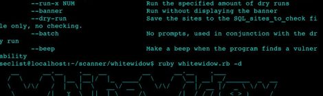 Whitewidow v1.5.0 is an open source automated SQL vulnerability scanner.