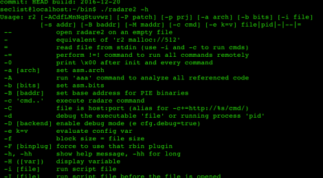 radare2 v1.1.0 codename: preccc - reverse engineering framework and commandline tools.