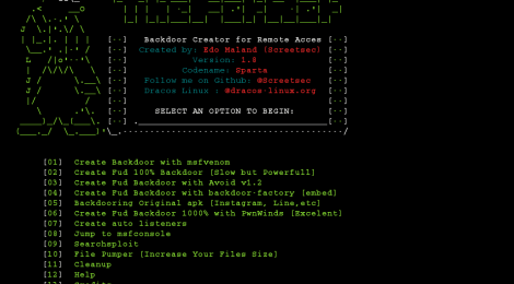 TheFatRat v1.8 - Backdoor Creator For Remote Access.