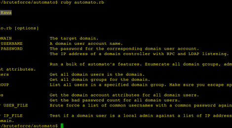 automato - automating user-focused enumeration tasks during an internal penetration test.
