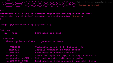 commix v1.7 - command injection exploiters.