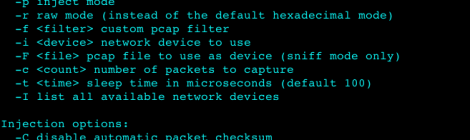 hexinject v1.6 - Hexadecimal and raw packet injector and sniffer.