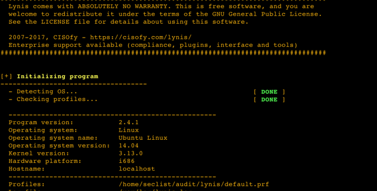 Lynis v2.4.1 - is a system and security auditing tool for Unix/Linux.