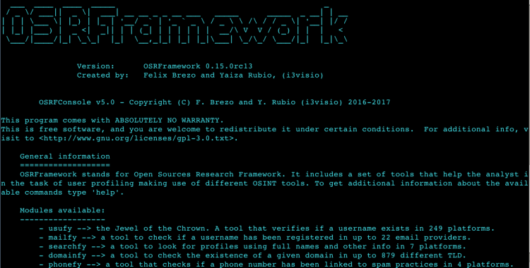OSRFramework - an Open Sources Intelligence Gathering Research Framework.
