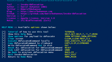 Invoke-Obfuscation v1.7 - PowerShell command and script obfuscator.