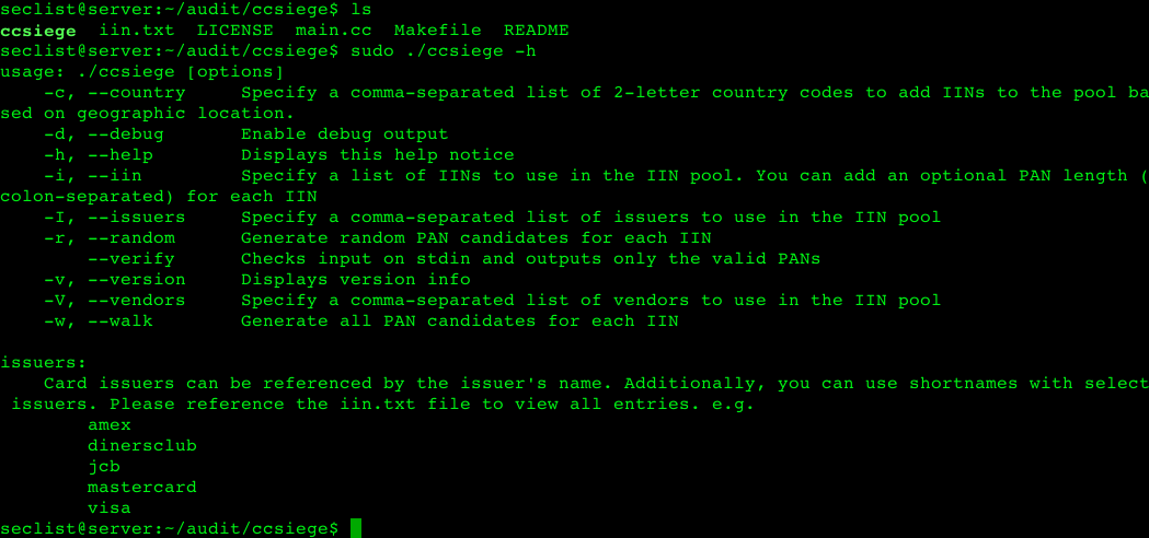 ccsiege – Security audit utility for PAN candidate generation.