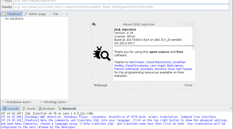 JSQL Injection v0.78 - a java tool for automatic database injection.