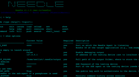 needle v1.1.0 - The iOS Security Testing Framework.