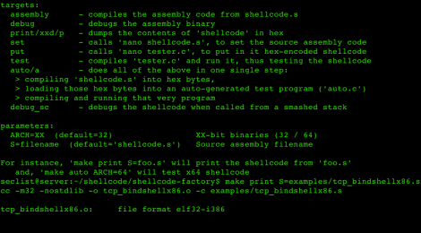 shellcode-factory ~ Tool to create and test shellcode from custom assembly sources.