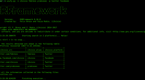 OSRFramework v0.16.8 - an Open Sources Intelligence Gathering Research Framework.