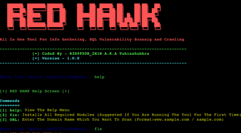 RED_HAWK - All In One Tool For Gathering-Information, SQL Vulnerability Scanning and web Crawling.