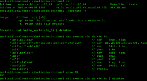 drinkme is a shellcode test harness.
