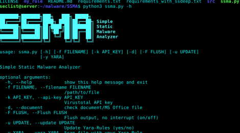 SSMA - Simple Static Malware Analyzer.