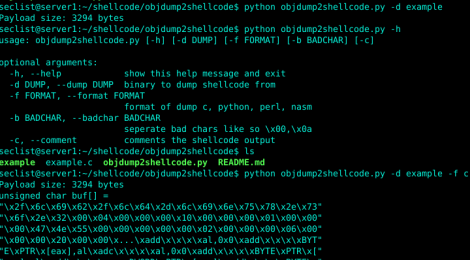 objdump2shellcode - A very simple tool that dump shellcode from a provided binary.