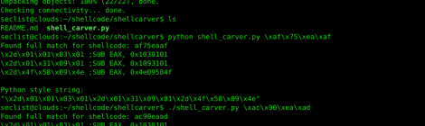 shellcarver - Carve shellcode within the memory using restrictive character set.