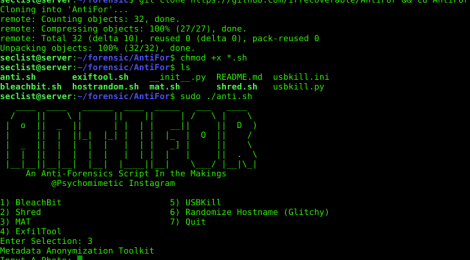 AntiFor - an Anti-Forensics Script In the Makings.
