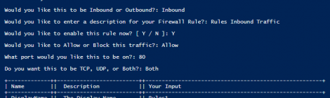 FirewallRules - Simple PowerShell script to quickly add Windows Firewall Rules.