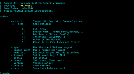 Spaghetti - Web Application Security Scanner.