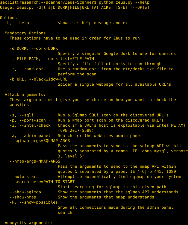 Zeus – Advanced dork searching utility  – Security List Network™